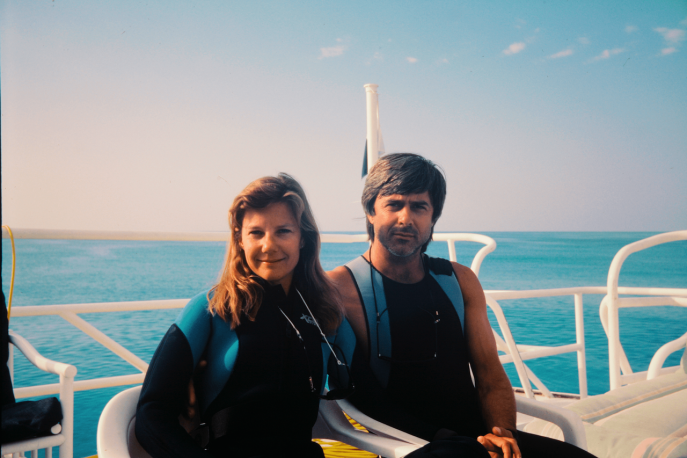 Underwater filmmaking, and life partners, Mimi and Mike deGruy.
